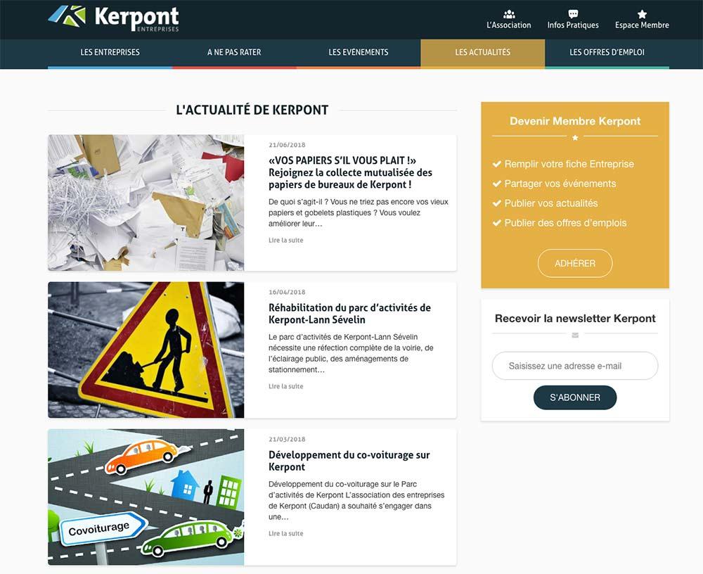 Refonte du site de l'association des entreprises de Kerpont - Page actualités